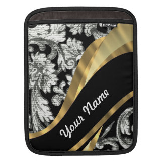 Black & white floral damask iPad sleeve