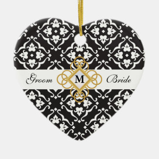 Black & White Floral Damask Jewel Wedding Keepsake Ceramic Heart Decoration