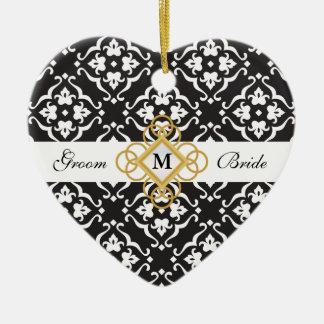 Black & White Floral Damask Jewel Wedding Keepsake Ceramic Heart Decoration