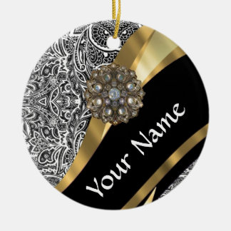 Black & white floral damask pattern christmas ornament