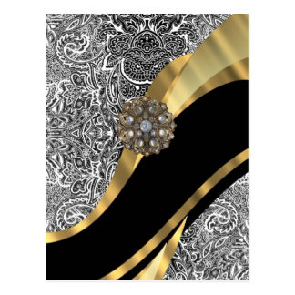 Black & white floral damask pattern post card