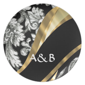 Black & white floral damask plate