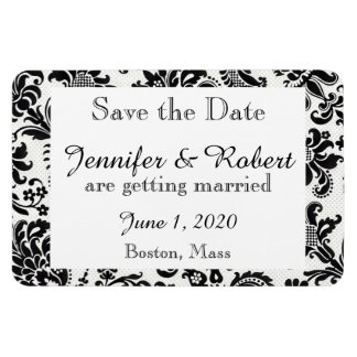 Black White Floral Damask Wedding Save the Date Rectangular Photo Magnet