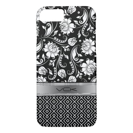 Black & White Floral Damasks & Geometric Pattern