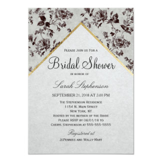 Black & White Floral & Gold Trim Recycled Paper 11 Cm X 16 Cm Invitation Card