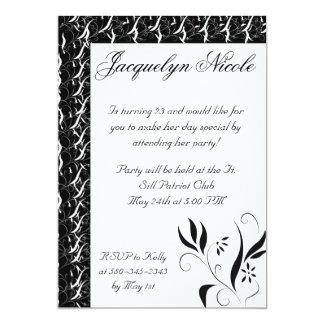Black & White Floral Invitation