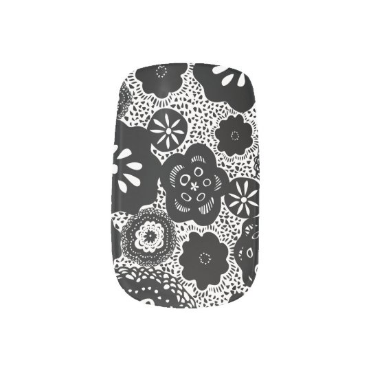 Black White Floral Minx Nail Art Wraps