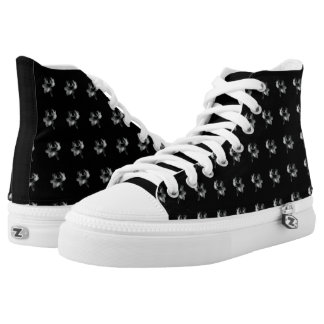 Black White Floral Motif High Top Shoes