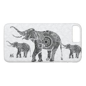 Black & White Floral Paisley Elephant-Monogram iPhone 8 Plus/7 Plus Case