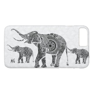 Black & White Floral Paisley Elephant-Monogram iPhone 8 Plus/7 Plus Case