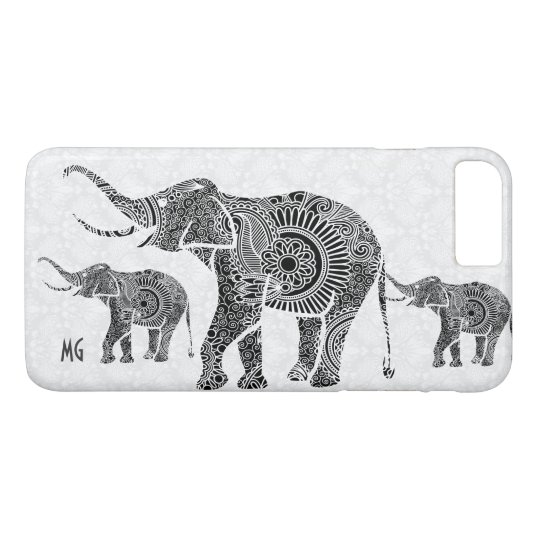 Black & White Floral Paisley Elephant-Monogram iPhone 8