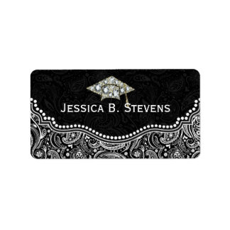 Black & White Floral Paisley Graduation Hat Address Label