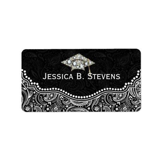 Black & White Floral Paisley Graduation Hat Label