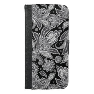 Black & White Floral Paisley Pattern iPhone 6/6s Plus Wallet Case