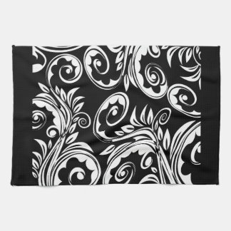 Black white floral paisley pattern tea towel