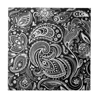 Black & White Floral  Paisley Pattern Tile