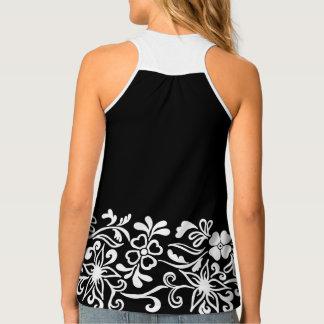 Black & white floral pattern tank top