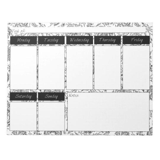 Black & White Floral Pattern Weekly Planner Pad