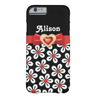 Black white floral pattern with red bow and jewel barely there iPhone 6 case