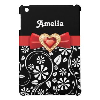 Black white floral pattern with red bow and jewel iPad mini covers