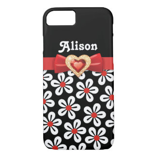 Black white floral pattern with red bow and jewel iPhone 7 case