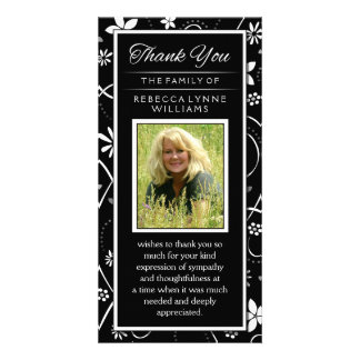 Black & White Floral Photo Memorial Thank You Card Photo Card