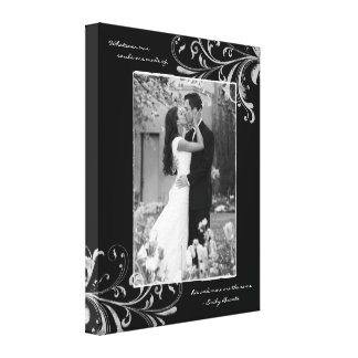 Black White Floral Portrait Photo Template Picture Canvas Print