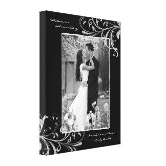 Black White Floral Portrait Photo Template Picture Stretched Canvas Prints
