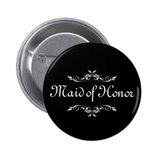 Black & White Floral Swirl Border Maid of Honor 6 Cm Round Badge