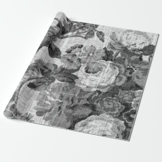 Black & White Floral Toile Botanical Decoupage Wrapping Paper