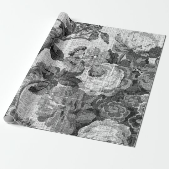 Black & White Floral Toile Fabric No.4 Wrapping