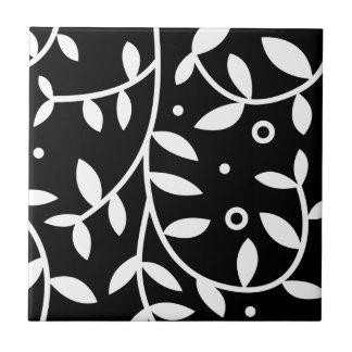 Black & White Floral Vines Contemporary Small Square Tile