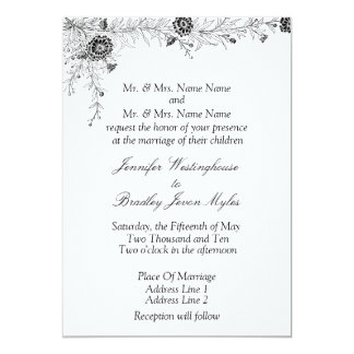 Black White Floral Wedding Invitation Invite