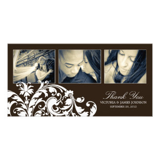 BLACK & WHITE  FLOURISH | WEDDING THANK YOU CARD