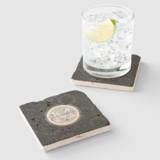 Black White Flower Background Monogram Stone Beverage Coaster