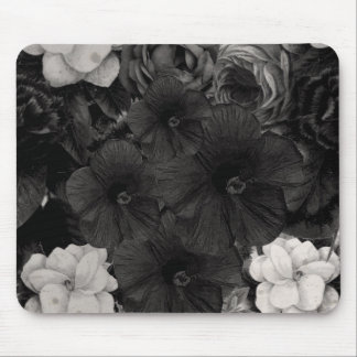 Black&White Flower Collage Mouse Pad