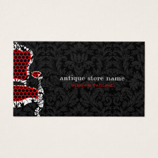 Black & White Flower Damasks With Antiques Chair 2 Business Card