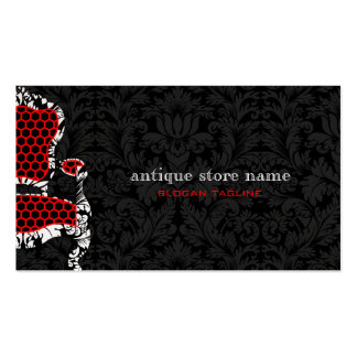 Black & White Flower Damasks With Antiques Chair 2 Pack Of Standard Business Cards