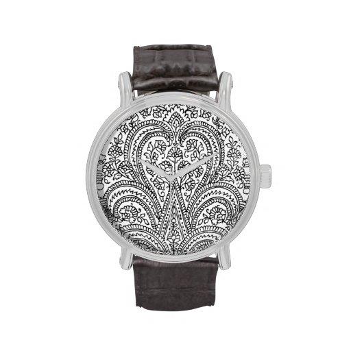 Black + White - Flower + Paisley Pattern - Watch