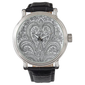 Black + White - Flower + Paisley Pattern - Watch