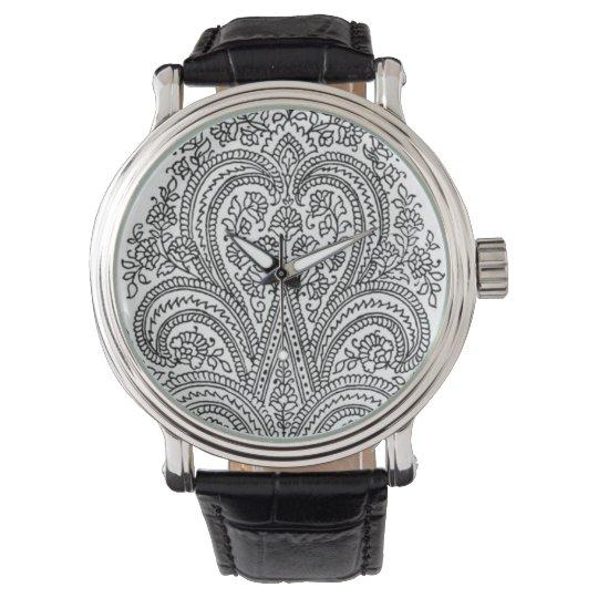 Black + White - Flower + Paisley Pattern