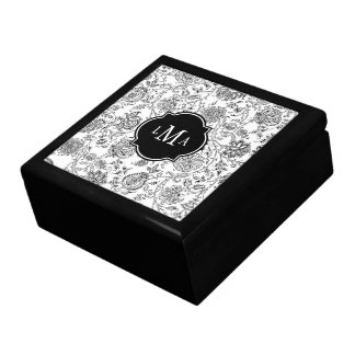 Black & White Flower Pattern Monogram Gift Box