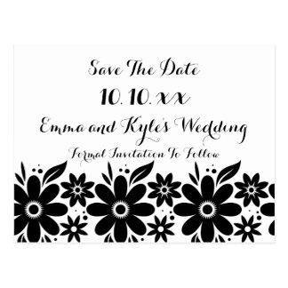 Black White Flower Save The Date or Invite Postcard