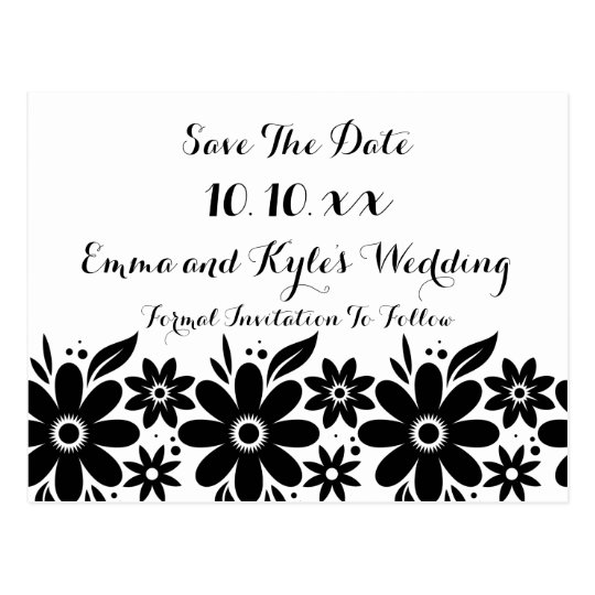 Black White Flower Save The Date or Invite Postcard