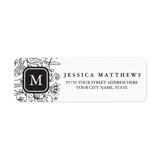 Black & White Flowers Personalised Monogram Label Return Address Label