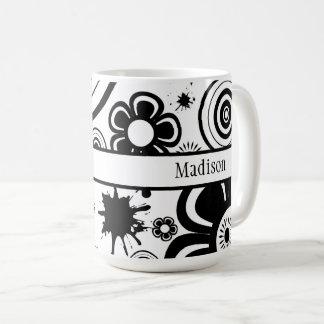 Black & White Flowers, Rings, Splashes Pattern Coffee Mug