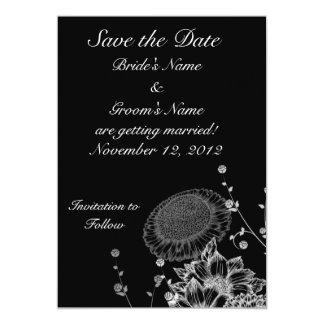 Black & White Flowers Save the Date 13 Cm X 18 Cm Invitation Card