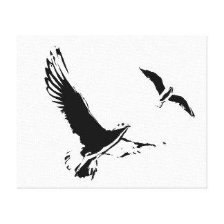 Black & White Flying Birds - Canvas Canvas Print