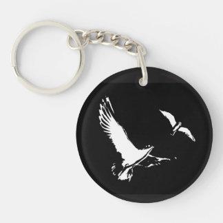 Black & White Flying Birds - Key ring Double-Sided Round Acrylic Key Ring