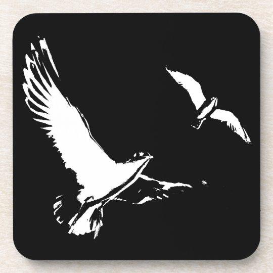 Black & White Flying Birds - Plastic Coasters